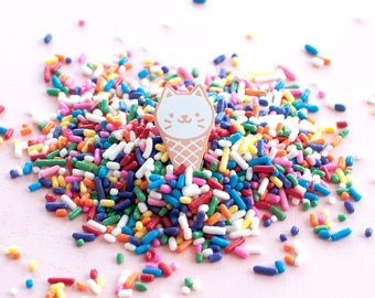Ice Cream Cat Enamel Lapel Pin // white / copper / cloisonne pin / summer gift / ice cream lover / sweet tooth / white cat pin