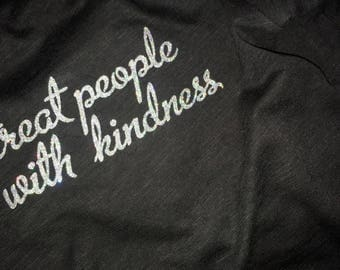 Treat People With Kindness - Harry Styles Holographic Glitter (Holo) Black T-Shirt