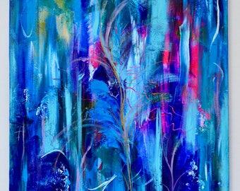 "Contemporary Original painting.Abstract Acrylic art by Lana Mindeli.Wall art.Canvas.50-60cm.Home decor.Wall art.modern art.""Feather"""
