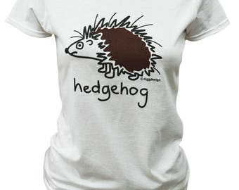 Womens HEDGEHOG fitted white T.shirt.