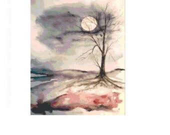 Winter Moonlight Cross Stitch Chart