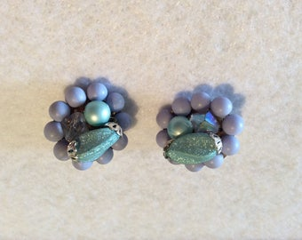 Adorable Vintage Clip On Earrings - Purple and Aqua Baubles - 1950s Era