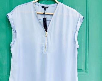Lilac Front Zipper V-Neck Shirt