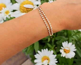 Rhinestone Bracelet / Dainty Rhinestone Bracelet / Diamond Bracelet / Dainty Bracelet / Gift for her / Crystal Bracelet / Bridesmaid Gift