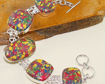 bracelet in silver and mosaic Jasper. Chic bracelet, Bohemian bracelet, boho bracelet, antique bracelet vintage bracelet