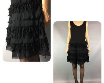 Black Ruffle Dress Vintage Coctail Dress Mini Dress Vintage Black Dress Sleeveless Black Dress Vintage Dress Vintage Ruffle Dress Black
