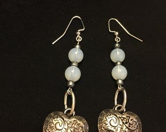 Moonstone Antique Heart Earrings