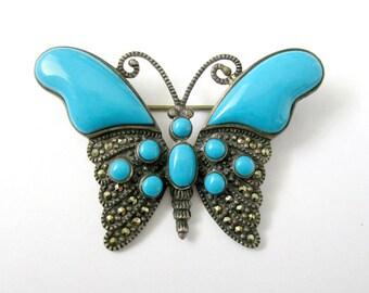 Blue butterfly brooch, silver butterfly brooch, marcasite butterfly brooch, vintage butterfly brooch, butterfly jewelry