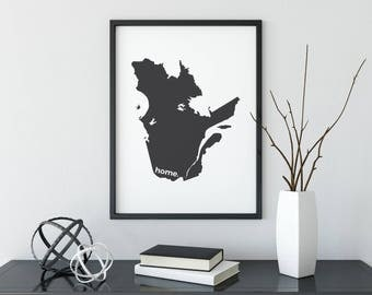 Quebec Print, Custom Print, Map Art, Canada Day, Canadian Decor, Canada Decor, Modern Map, Home Decor, Province Print, Wall Art, Canadian