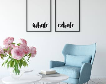 Inhale Exhale Print Set, Custom Print, Inspirational Quote, Home Decor, Physical Print, Wall Art, Bedroom Print, Quote Print, Calming Decor