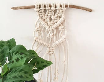 Small Handmade Macrame Wall Art Hanging -  Bohemian Boho Eclectic Jungalow Gypsy Decor Style Home - cotton rope #0578