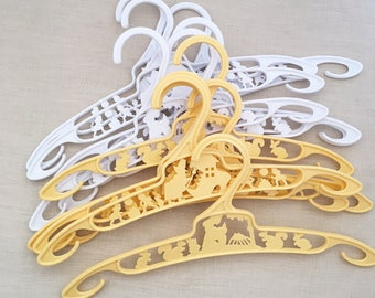 12 Vintage Childrens Coat hangers - coathangers - kids - baby doll clothes - nursery rhymes - 50s 60s clothing clothes - yellow white #0622