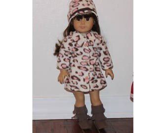 "Lined  Coat with Snaps & Hat for  18"" Dolls (Clothes only, American Girl Doll not included) Pink Animal Print Toy Doll Clothes for Girl Gift"