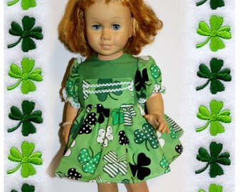 "Chatty Cathy doll not included.  For 20"" tall dolls that are like Chatty Cathy. St. Patrick's Day Green Clover Dress, Bracelet & Underwear"