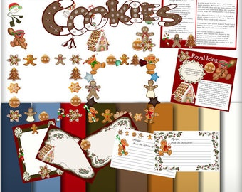 Gingerbread Cookie Recipe kit, Recipe and recipe cards, journal cards, cookie exchange, baking, chef, Christmas Cookies, Alphabet, Digital