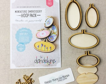 4 Pack of mini embroidery hoops. Dandelyne Hoops. Multi pack bundle. Dandelyne Assorted Oval Embroidery Hoops. Miniature embroidery hoops
