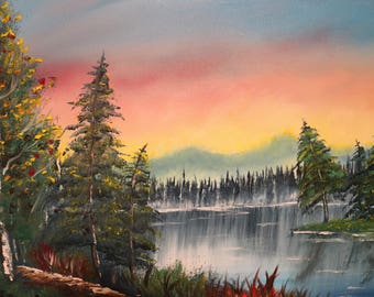 North Woods Sunset Oil Painting