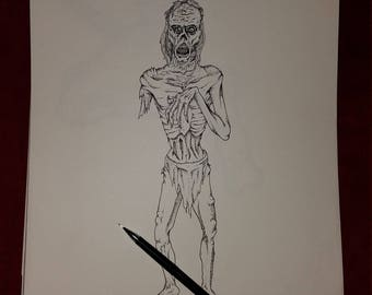11in x 14in Mummy/Zombie Drawing