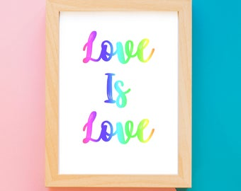 Love is Love Gay Pride LGBTQ Wall Art Printable, Digital Download, Art Prints, Typography, Wall Decor, Home Decor