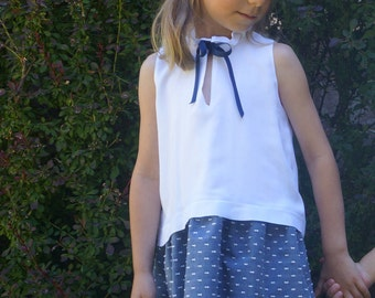 Plumetis dress in blue and white