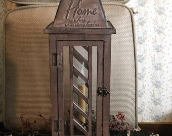 """Primitive Electric Lighted Indoor Lantern """"Home is where your story begins"""""""