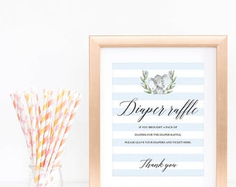Diaper Raffle Sign for Baby Shower, Blue Elephant Baby Shower Diaper Raffle Template, DIY Baby Shower Diaper Sign, Sweet Elephant Boy, LBE