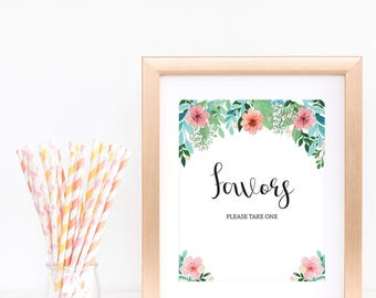 Favors Sign Bridal Shower Favor Sign Baby Shower Signs Printable Please Take One Sign Instant Download Floral Baby Party Decorations diy FG1