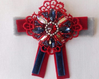 Bow Brooch Beaded, Handmade Brooch, Accessories, Pin, Handmade Jewelry, Pin