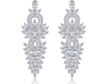 Bridal Earrings Bridal Statement Earrings Wedding Long Earrings Sparkle Statement Earrings Wedding Earrings Wedding Jewelry Long Crystal