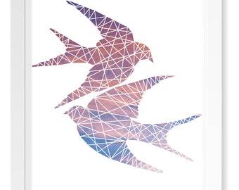Sunset Geometric Love Birds Print / Minimalistic Scandinavian Poster Art / Animal Cutout Silhouette