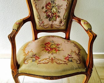 Vintage Fauteuil Louis XVI Arm Chair Gobelin Tapestry Gorgeous Carved Wood FREE SHIPPING!!