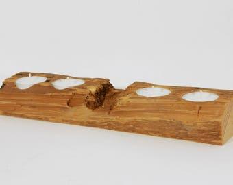 """Reclaimed Wood Tea Light Holder - 11"""" inch Pine"""
