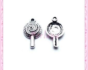 Set of 15 REF927X3 silver lollipop charm