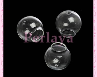 1 round 30mm glass globe double hole REF1121