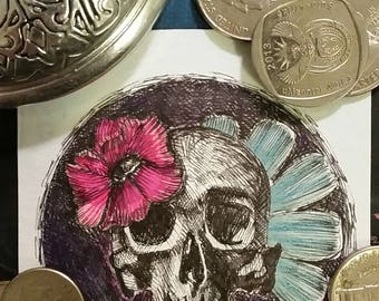 Skull & Flower Miniature Sketch