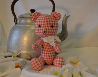 Teddy Bear, Toy Teddy Bear, Red Teddy Bear, Handmade Teddy Bear, Sewn Bear, OOAK Teddy, Teddy Bear Girl, Gift Teddy Bear, Collectible, Anna