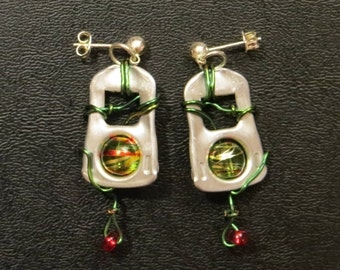 Upcycled Pop Tab Earrings with wire wrapping and painted beads