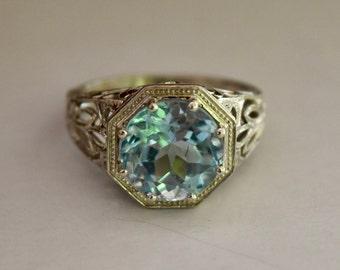 14K Aquamarine ring-5 ct Aquamarine Ring-White Gold-Aquamarine Gemstone-