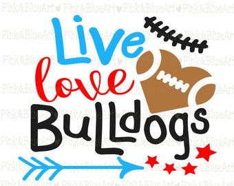 Football Bulldogs SVG Clipart Cut Files Silhouette Cameo Svg for Cricut and Vinyl File cutting Digital cuts file DXF Png Pdf Eps