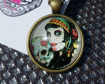 Beautiful woman sugar  skull and blossom pendant and necklace chain day of the dead