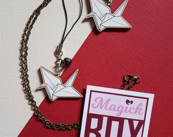 Wooden Origami Crane * Necklace or Phone Charm