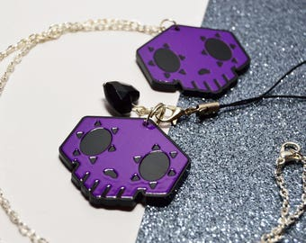 Overwatch * Sombra Skull * Necklace or Phone Charm * Computer Games Gamer Cute Quirky Geek Nerd