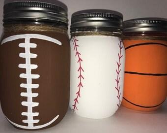 Hand Painted Men and Boys Football Baseball Basketball Mason Jars Set of Three (3)