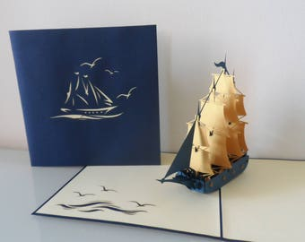 Blue & Gold Galleon Ship Pop up Card Birthday Retirement Blank (sku163)