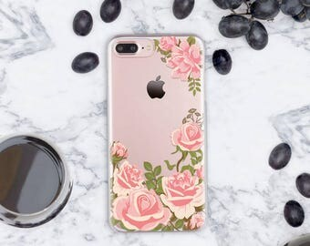 7 iPhone Case Clear iPhone 7 Plus Case Roses iPhone 6s Case Clear iPhone 7 Case Pink iPhone Case iPhone 6 Case Clear 5s iPhone Case cn023