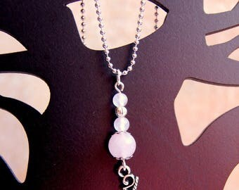Unicorn necklace and natural quartz beads