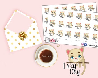 Lazy Day Planner Sticker, Lazy Cat Stickers, Lazy Day Tracker, Not Today Sticker, Tracker Sticker, Stationary Planner Accessory, Label