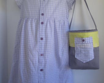 Size 6 White and Lavender Plaid Shirtdress with Matching Tote
