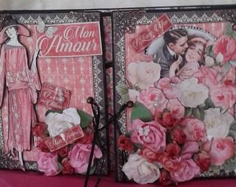 Graphic 45 Mon Amour scrapbook gatefold mini album