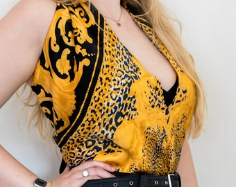Golden Filigree Leopard Print Deep V Halter Top